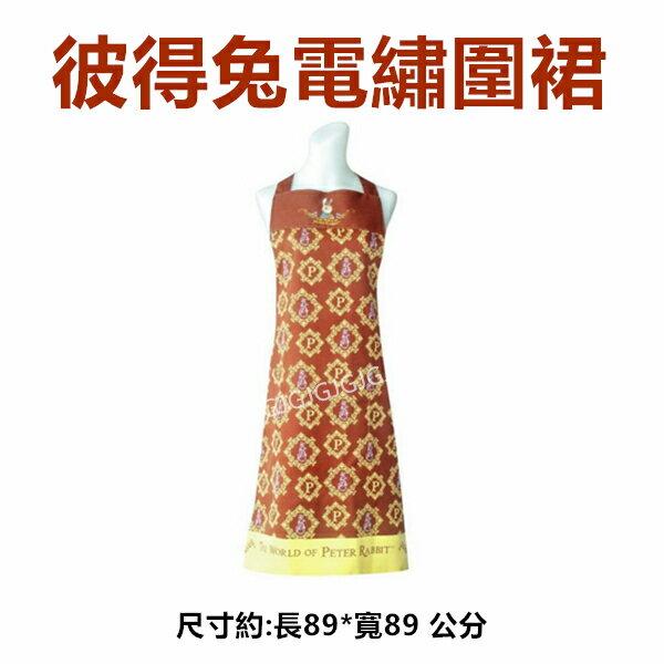 JG~黃色下單台灣製彼得兔圍裙電繡線框防潑水圍裙,比得兔圍裙二口袋格子圍裙廚房圍裙咖啡廳圍裙餐飲圍裙活動制服