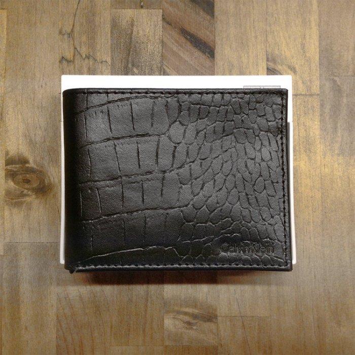 美國百分百【全新真品】Calvin Klein 皮夾 CK 短夾 鱷魚皮 蛇皮 真皮 二折 皮革 鈔票 男 黑 H822