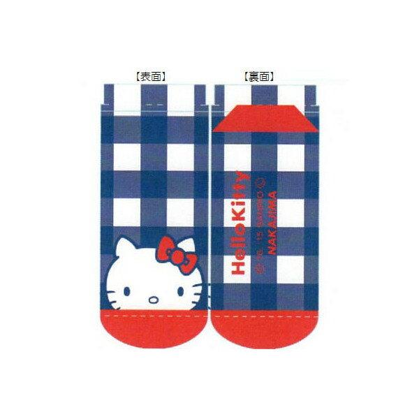 ~真愛 ~15102600011 踝襪~藍白格紋大頭紅結 襪子 凱蒂貓 kitty 三麗鷗