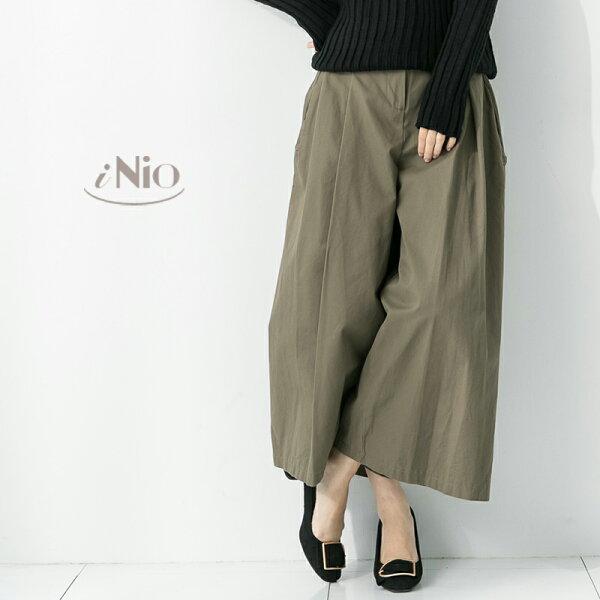 iNio 衣著美學:微厚款簡單純色鬆緊腰寬褲(S-M適穿)★現貨快出【T7W2055】iNio衣著美學