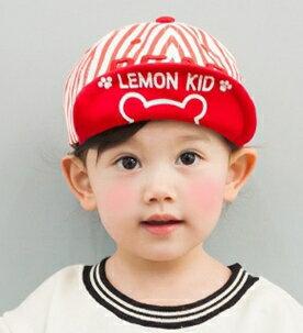 Lemonkid◆可愛簡約 純色條紋百搭可愛小熊字母印花 兒童翻檐帽~紅色