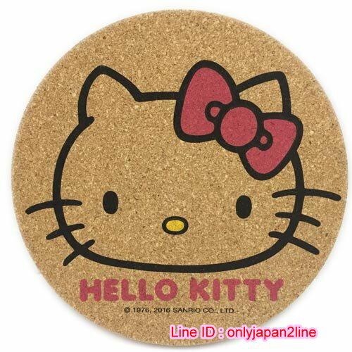 【真愛日本】16110900007圓形軟木隔熱墊-大臉粉結 三麗鷗 Hello Kitty 凱蒂貓 鍋墊 杯墊 墊子 防滑 正品