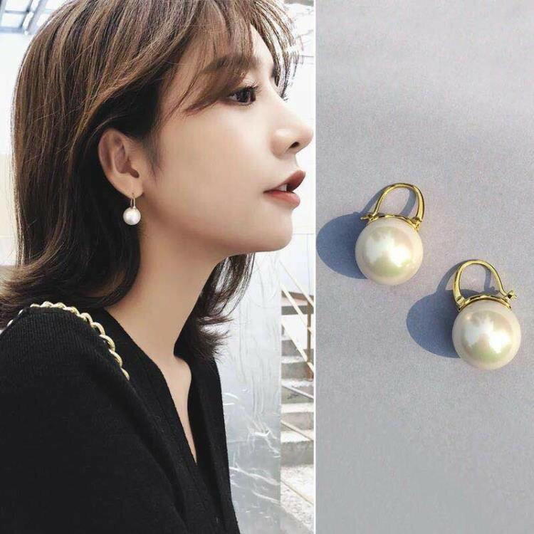 耳飾/珍珠耳釘女氣質韓國百搭網紅純銀仿珍珠耳環高級感法式巴洛克《台北日光》