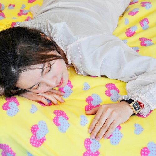 【心心相印-黃】單人三件式兩用毯床包組 / 自然居家◆ 高級搖粒絨 台灣製◆ HOUXURY寢具購物網