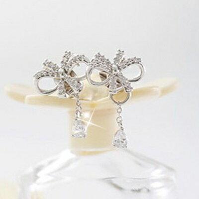 ~925純銀耳環鑲鑽耳飾~ 精緻亮眼蝴蝶結情人節生日 女飾品73du36~ ~~米蘭 ~