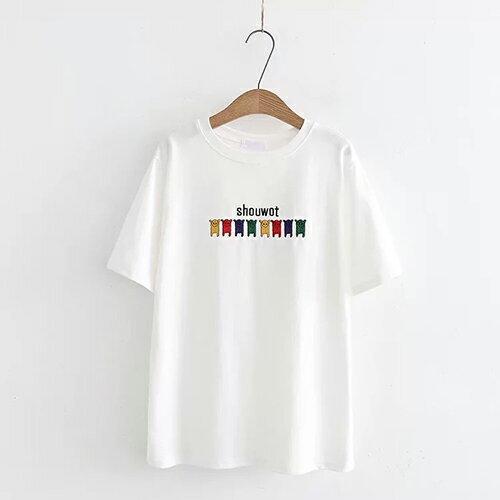 *ORead*刺繡小狗圖案休閒圓領棉質短袖T恤(3色F碼) 2