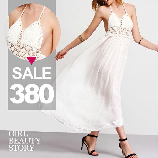 SISI~D7009~超美性感沙灘長裙細肩吊帶露背蕾絲雕花拼接雪紡長裙連身裙洋裝搭比基尼