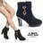 格子舖*【KSA01】韓版熱銷質感麂皮 金屬吊飾 拉鍊穿拖 顯修長8CM粗高跟短靴 踝靴 高跟鞋 黑色 0