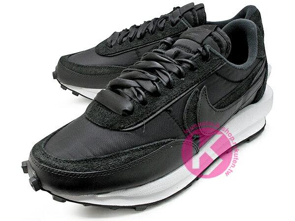 2020 春夏新色 高端時尚潮流 日本時尚品牌 阿部千登勢 SACAI x NIKE LDWAFFLE 黑 尼龍布 麂皮 鬆餅鞋 拼接 解構 經典 復刻鞋款 (BV0073-002) ! 1