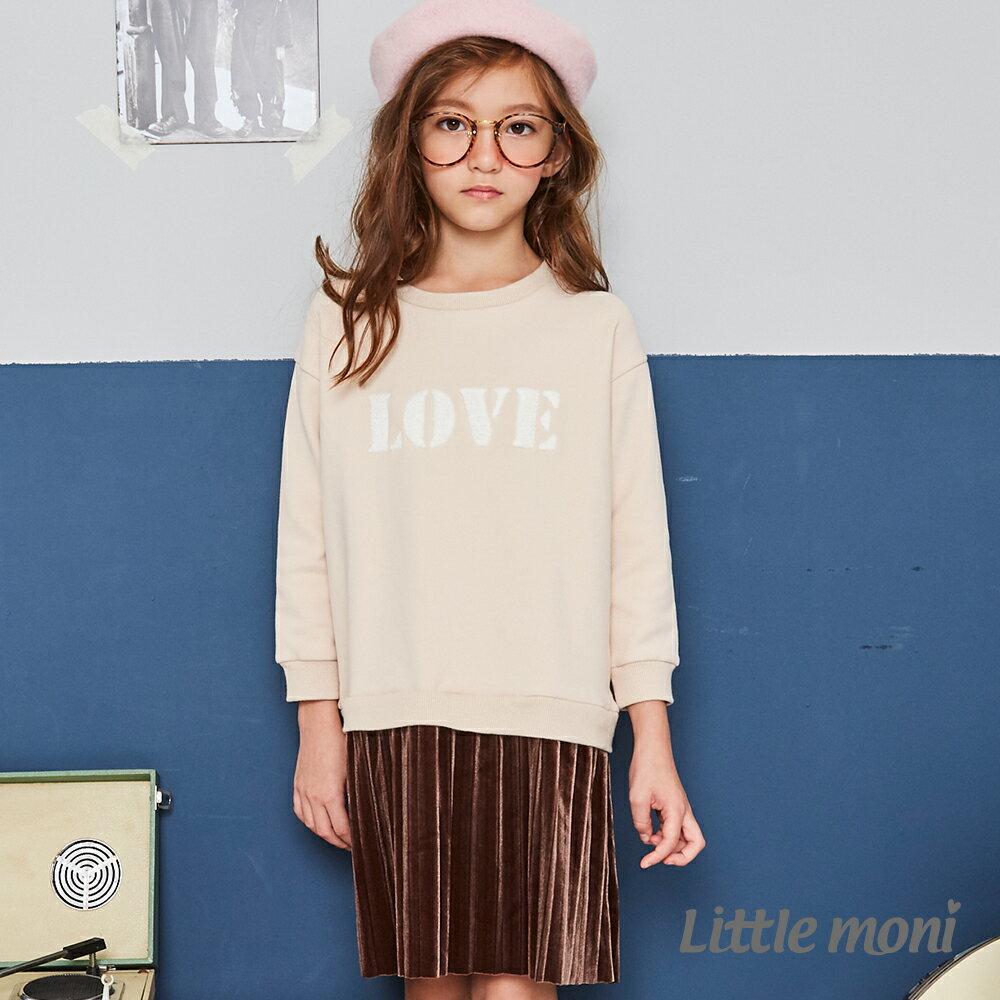 Little moni 刷毛假兩件百褶刺繡洋裝-卡其 1