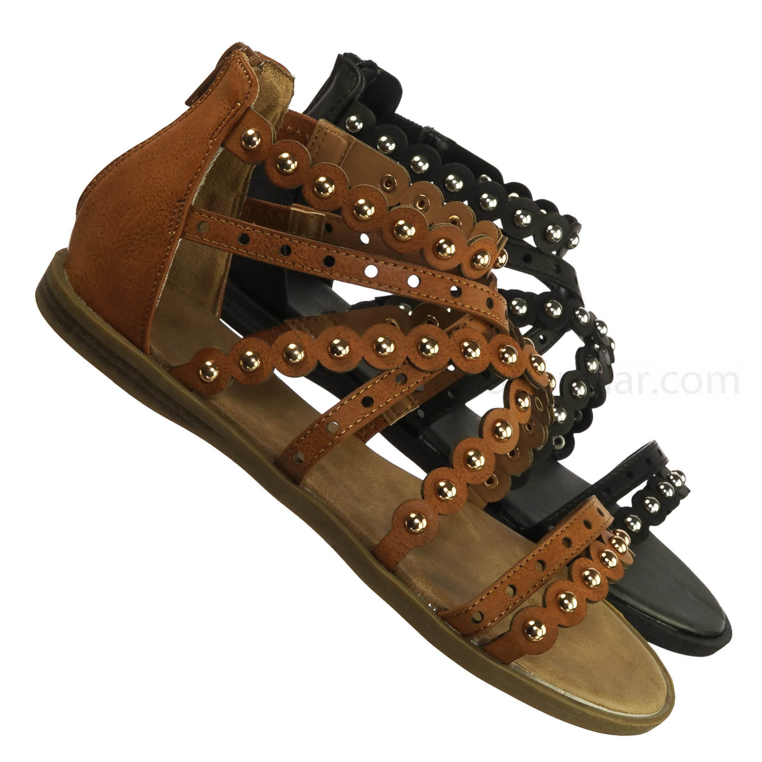f4b057ac9215d2 Enjoy39 by Bamboo Metal Rivet Strappy Gladiator Flat Sandal - Punk Biker  Antique Shoes 0