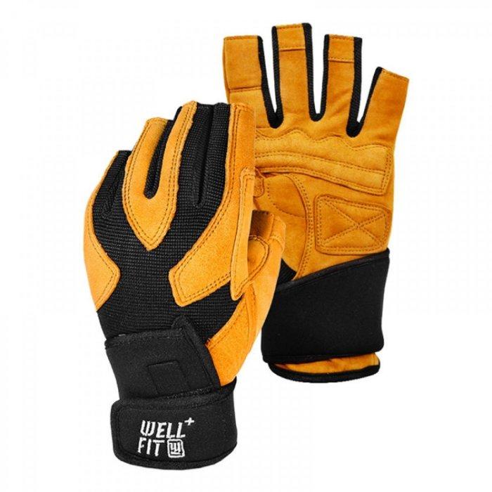 【H.Y SPORT】Well Fit 威飛客 X-Plus 100%山羊皮 護腕重訓手套 健身手套 訓練手套 皮革棕
