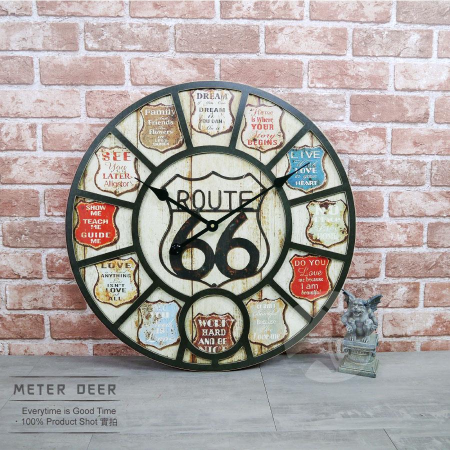 復古 美式 工業風 66公路 路標造型 大型 時鐘 仿舊鐵牌 立體 木質製 靜音 掛鐘 牆面裝飾 大尺寸 時鐘