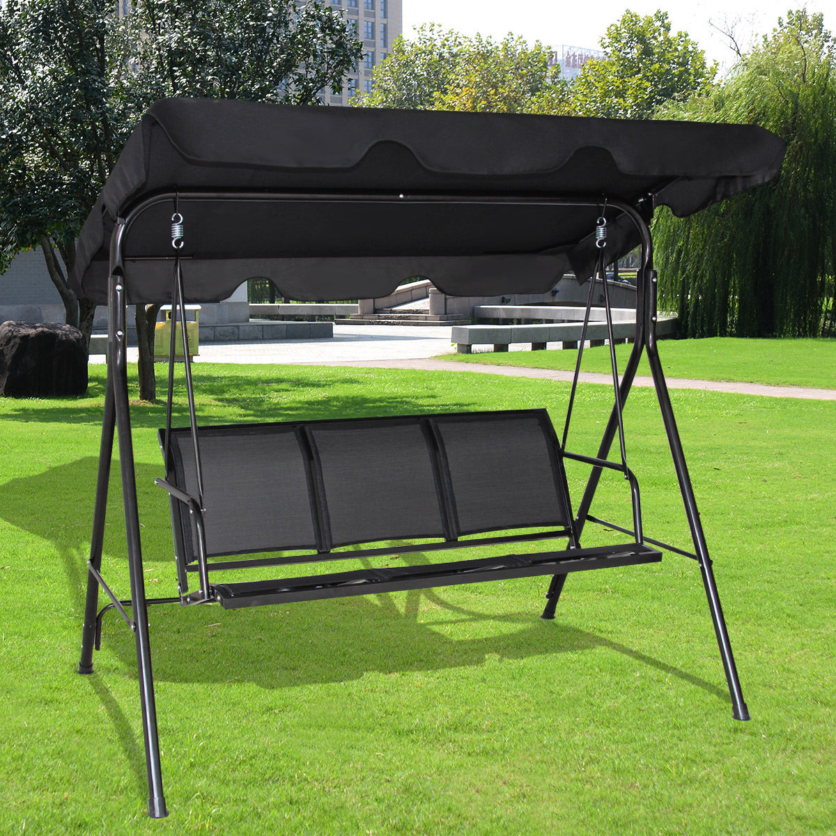 Costway Outdoor Patio Swing Canopy 3 Person Canopy Swing Chair Patio  Hammock Black 0