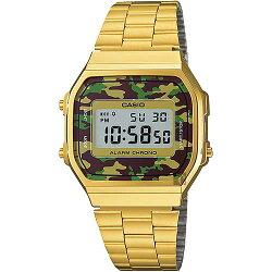 【東洋商行】免運 CASIO 卡西歐 Digital 迷彩電子錶-金 A-168WEGC-3DF 原廠公司貨 附保證卡 保固期一年