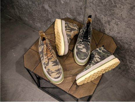 FINDSENSE Z1 日系 時尚 潮流 男士戶外 英倫復古 迷彩綁帶 高筒 休閒鞋 男鞋