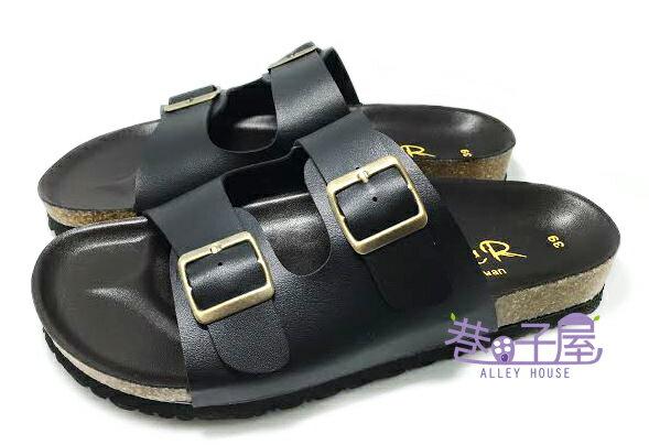 【巷子屋】ROOSTER公雞 男款經典勃肯二槓/條拖鞋 [8004] 黑 MIT台灣製造 超值價$198