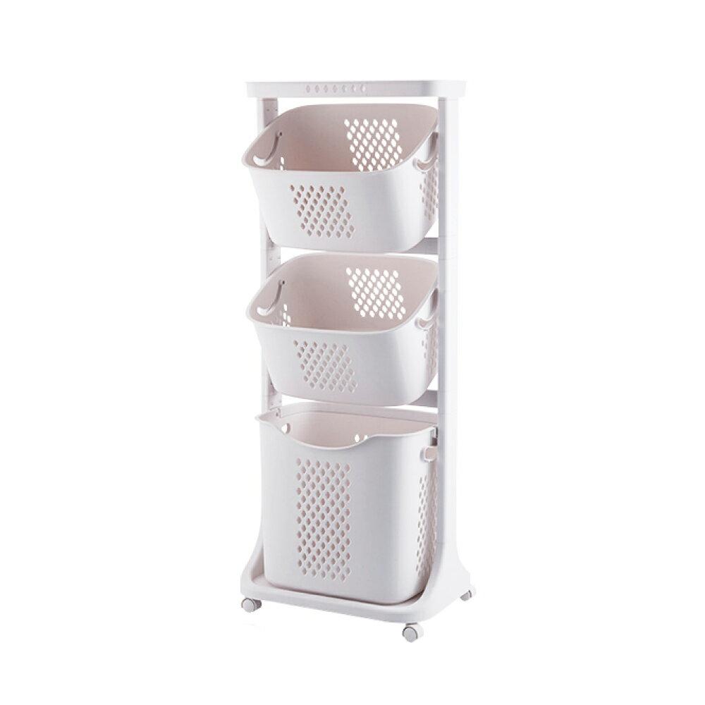 洗衣籃架 / 洗衣籃車 / 衣物分類 Kira三層收納髒衣籃(附輪) 完美主義【F0077】 2