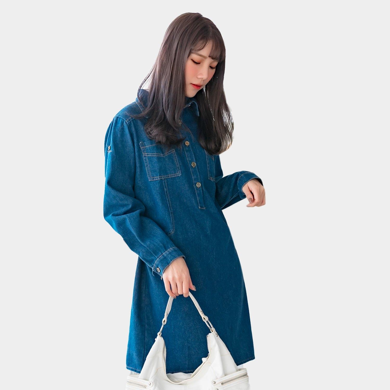 休閒洋裝--率性簡約排扣拼接口袋反褶扣寬鬆襯衫領牛仔連衣裙(藍L-2L)-A388眼圈熊中大尺碼 0
