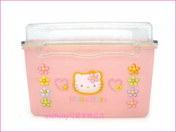 asdfkitty可愛家☆二手商品出清(有泛黃)-KITTY樂扣型粉紅色花花收納盒-日本製