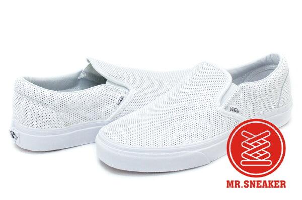 ☆Mr.Sneaker☆VANSSlipOn網眼洞洞皮革基本款白色男女款