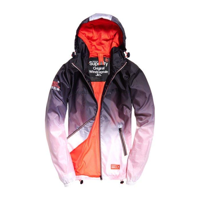 美國百分百【全新真品】Superdry 極度乾燥 輕量 防風 連帽外套 網格網眼 女 漸層 深藍/淺珊瑚 S號 H819
