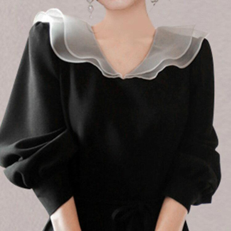 全店一件免運✦2021新款顯瘦赫本風超仙洋裝胖妹妹遮肚子法式復古氣質小黑裙✦女裝