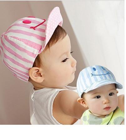 寶寶帽 笑臉條紋棒球帽 軟沿鴨舌帽 防曬 BU1539 ~  好康折扣