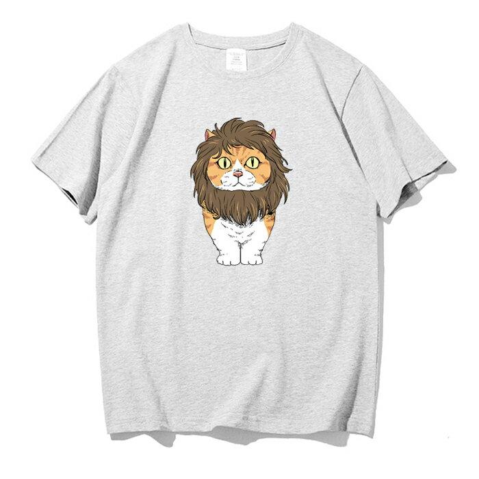 KUSO 搞笑 情侶裝 純棉短T MIT台灣製【YC686-13】萌寵 戴獅子鬃毛 橘貓  動物萌寵 快速出貨 3