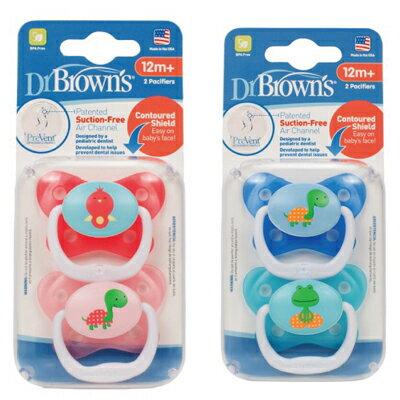 【悅兒樂婦幼用品舘】Dr Brown's美國布朗博士 Prevent功能性人體工學安撫奶嘴(兩入裝)12個月以上-粉/藍