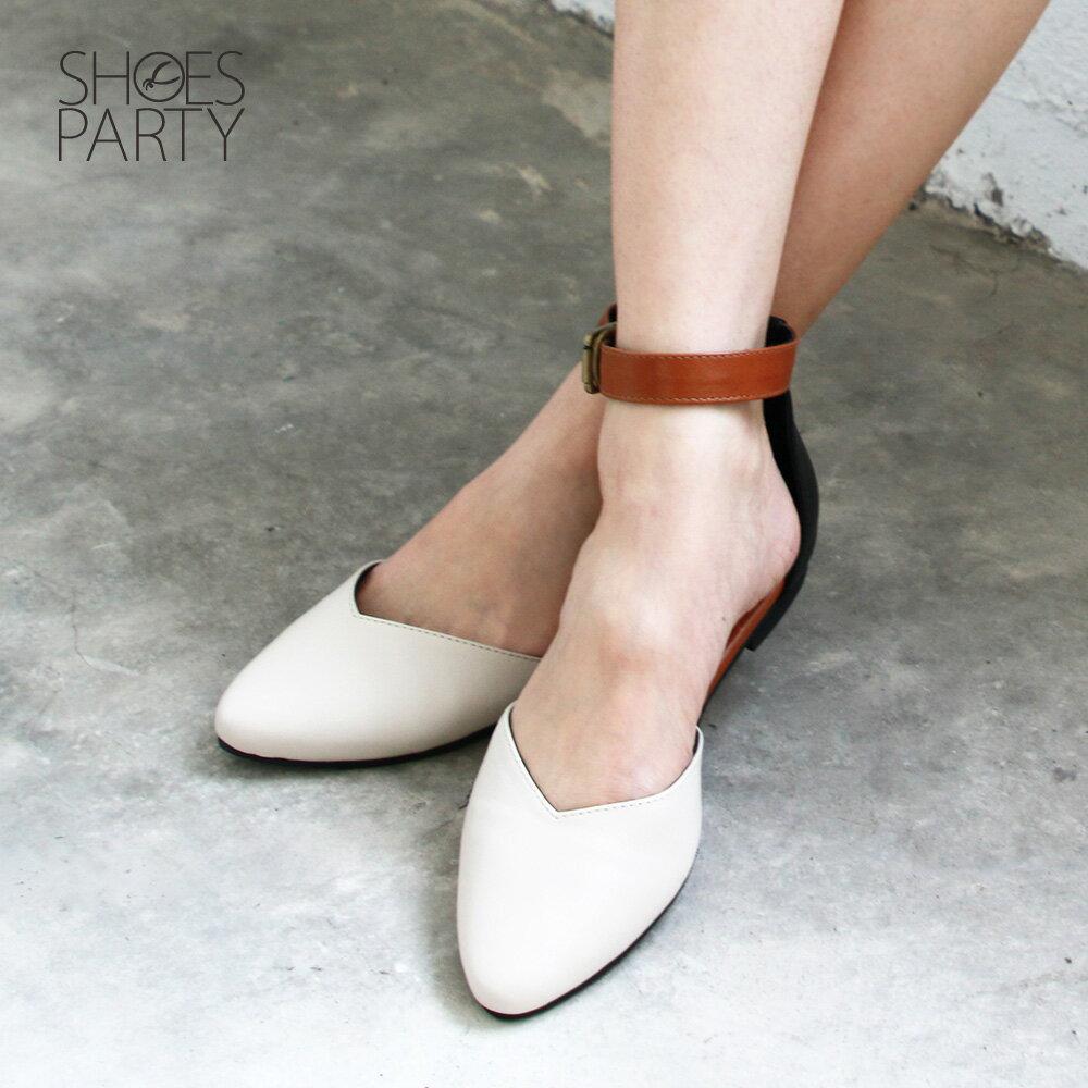 【S2-19305L】寬腳版可穿,配色腳踝帶真皮便鞋_Shoes Party 1