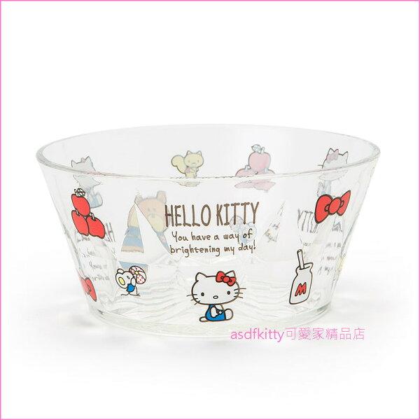asdfkitty可愛家☆KITTY透明塑膠碗水果碗冰淇淋碗小物收納碗-500ML-日本正版商品