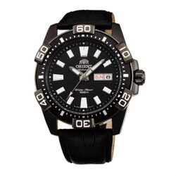 ORIENT 東方錶 WATER RESISTANT 100m系列 (FEM7R004B) Marine運動機械錶 皮帶款 黑色 45.5mm