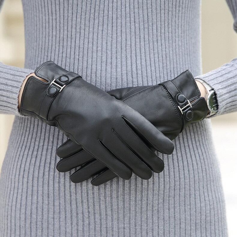 真皮手套保暖手套-羊皮加厚加絨黑色女手套73wm72【獨家進口】【米蘭精品】 0