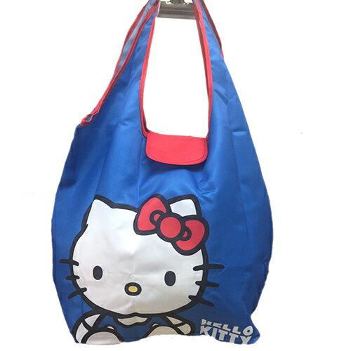 【真愛日本】 17041700024 環保收納提袋-KT坐姿藍 三麗鷗 Hello Kitty 凱蒂貓 旅行袋 購物袋