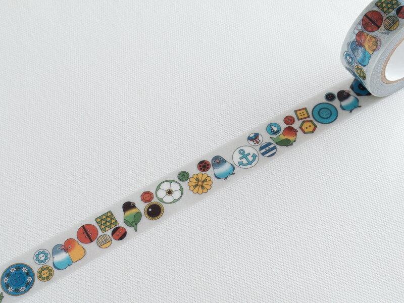 ~小徑文化~  313 原創和紙膠帶 ~ 服飾柄_薄灰 Buttons ^(313~004