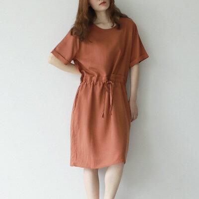 韓系女裝純色圓領銅氨絲繫帶收腰短袖裙連身裙洋裝樂天時尚館。預購。[全店免運]