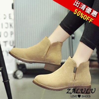 ZALULU愛鞋館 JE103 現貨 簡約素面側拉鍊低跟短靴-黑/杏/墨綠-偏小-36-40