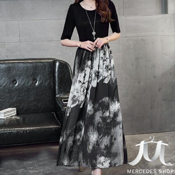 ~ 5折~ 復古水墨畫印花雪紡修身顯瘦短袖長洋裝  S~2XL  ~ 梅西蒂絲