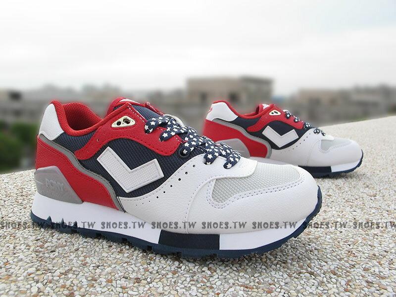 [25.5cm]《超值990》Shoestw【53W1MK61RW】PONY MARK8 復古慢跑鞋 內增高 美國國慶 白藍紅 星星 女款