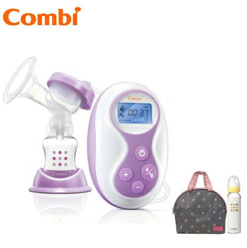 【贈標準玻璃奶瓶240ml+點點手提袋】日本【Combi】自然吸韻手電動二合一吸乳器 0
