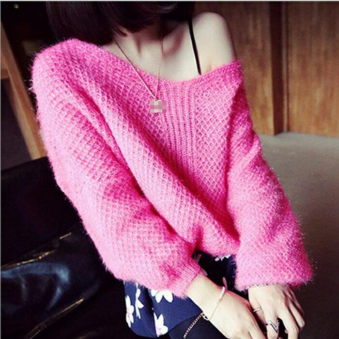【美娜甜心】韓國同步氣質款V領針織毛衣/針織衫/針織上衣