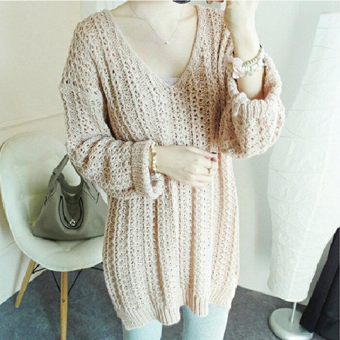 【美娜甜心】韓國同步長版V領針織毛衣/針織上衣/針織洋裝(杏色)