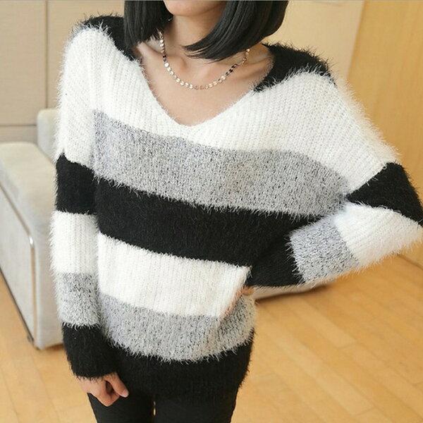 【美娜甜心】韓版時尚優雅V領顯瘦黑白條紋針織毛衣(黑白條紋)