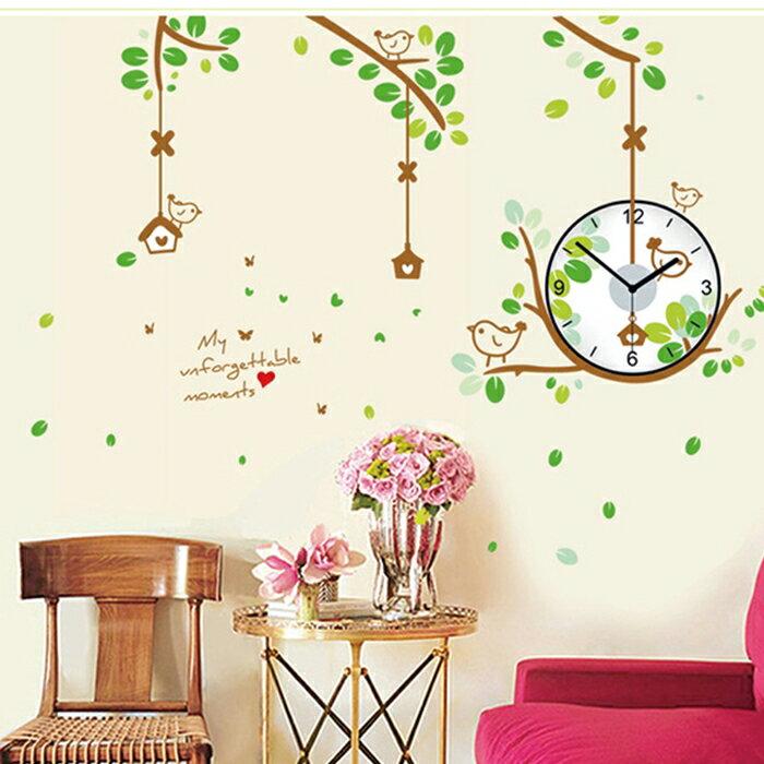 【香草花園】森林裡的小鳥 大型創意時鐘貼/壁貼/牆貼(指針會動喔!)