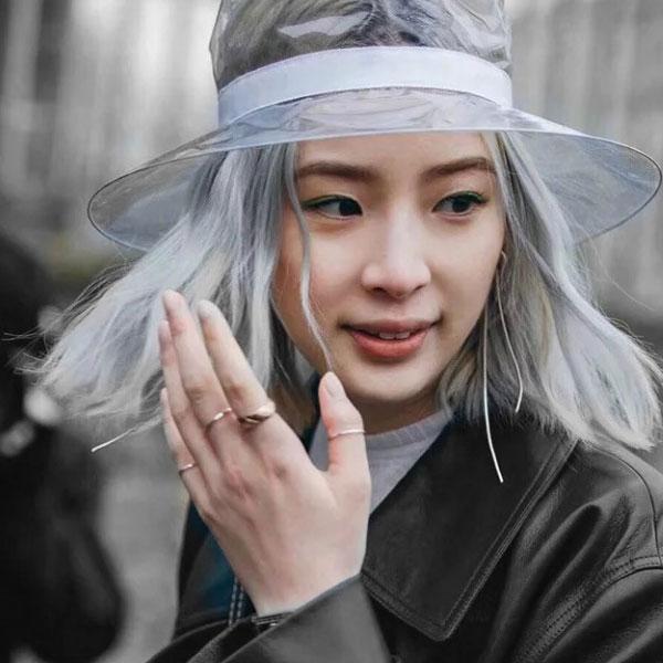 透明盆帽遮陽帽禮帽漁夫帽造型帽子防水緞帶黑白時尚果凍歐美明星大牌韓國ANNAS.