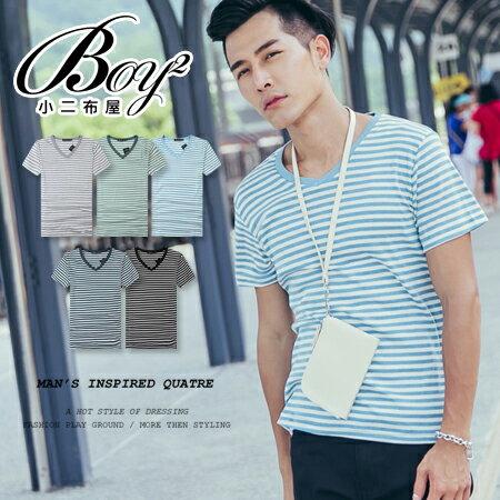 ☆BOY-2☆【PPK82110】韓簡約V領條紋素面短T 0