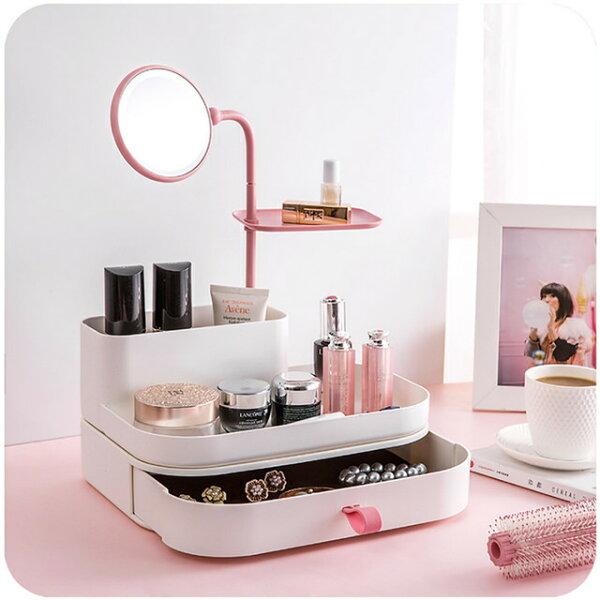 潘朵拉綠色生活概念館:美娜甜心法式化妝鏡梳妝盒化妝品收納盒(優雅粉)