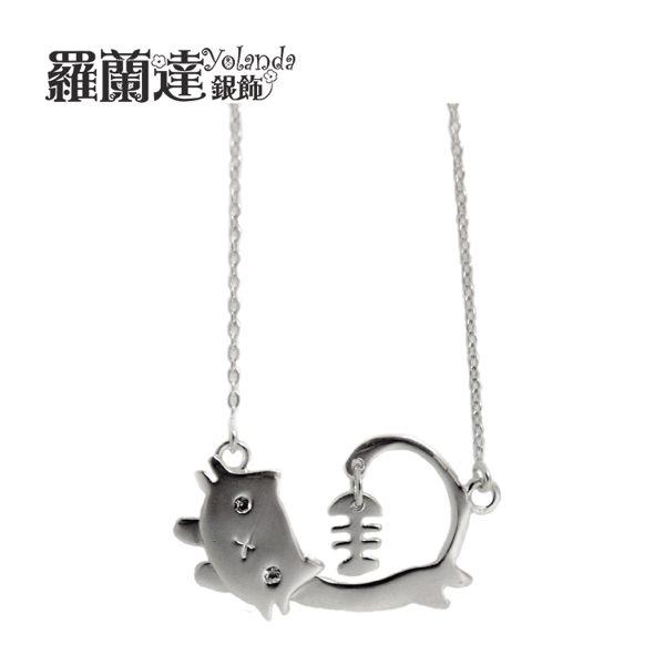 項鍊925純銀~可愛貓咪與魚骨頭~純銀閃亮鎖骨練~~羅蘭達銀飾~