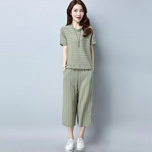 休閒時尚條紋短袖寬鬆七分褲兩件套(4色M~3XL)【OREAD】 1